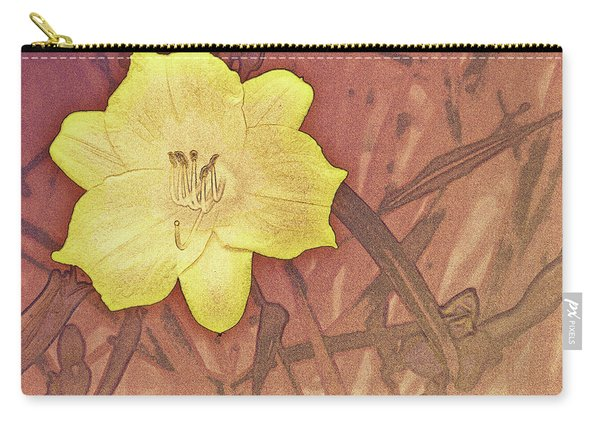 Yellow Day Lily Stencil On Sandstone Carry-all Pouch