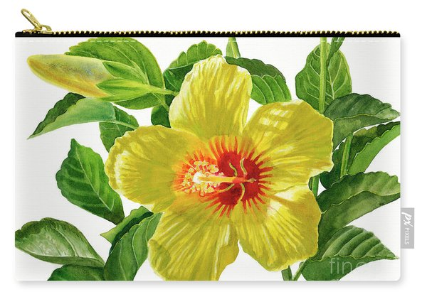 Yellow Hibiscus Blossom With Bud Carry-all Pouch