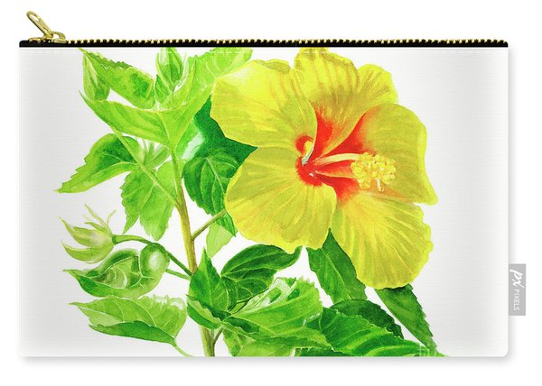 Yellow Hibiscus Flower Carry-all Pouch