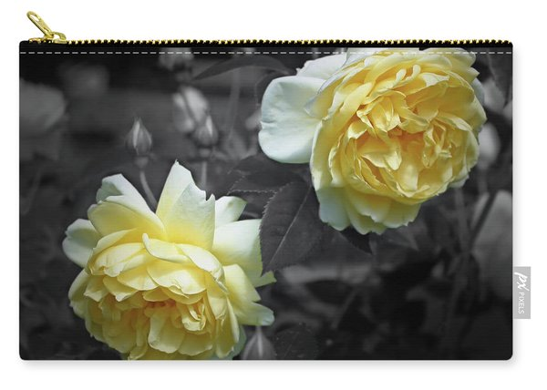 Yellow Roses Partial Color Carry-all Pouch