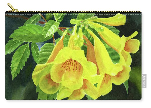 Yellow Trumpet Flowers With Dark Background 2 Carry-all Pouch
