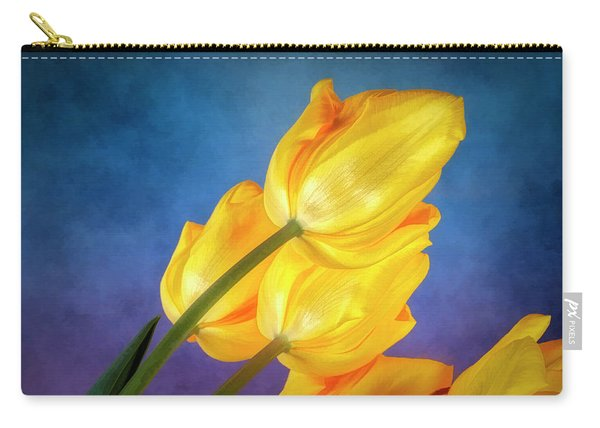 Yellow Tulips On Blue Carry-all Pouch