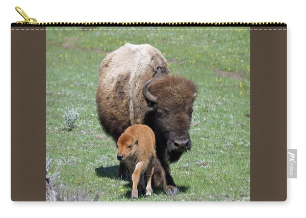 Carry-all Pouch featuring the photograph Yellowstone Bison And Calf by Jean Clark