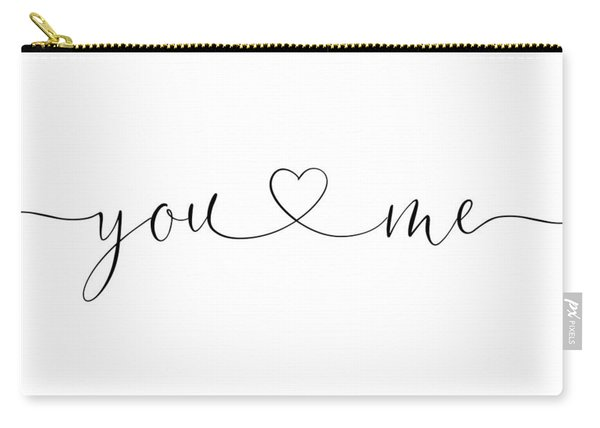 You And Me Black And White Carry-all Pouch