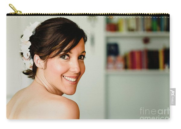 Young Woman From Behind Smiling Carry-all Pouch