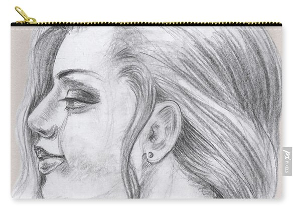 Young Woman Head Study Profile Carry-all Pouch