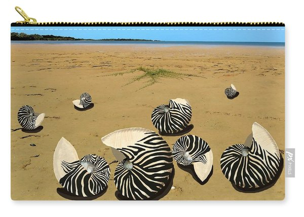 Zebra Nautilus Shells On The Beach  Carry-all Pouch