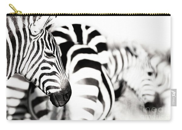 Zebras Black And White Carry-all Pouch
