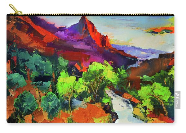Zion - The Watchman And The Virgin River Vista Carry-all Pouch