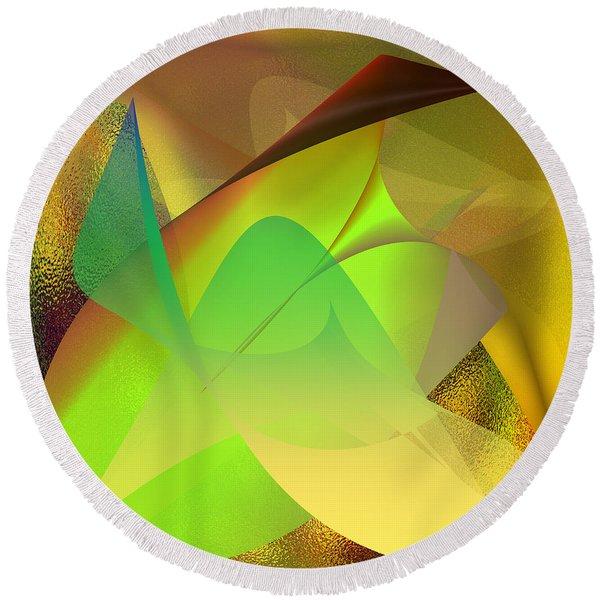 Round Beach Towel featuring the digital art  Dreams - Abstract by Gerlinde Keating - Galleria GK Keating Associates Inc