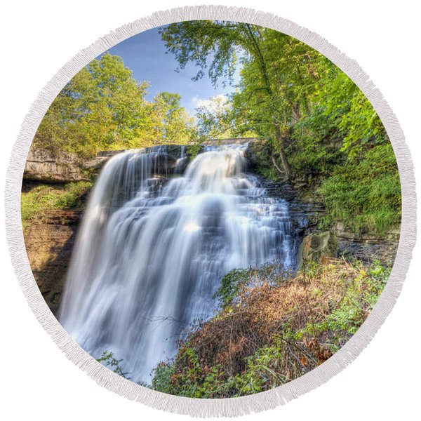 0302 Cuyahoga Valley National Park Brandywine Falls Round Beach Towel