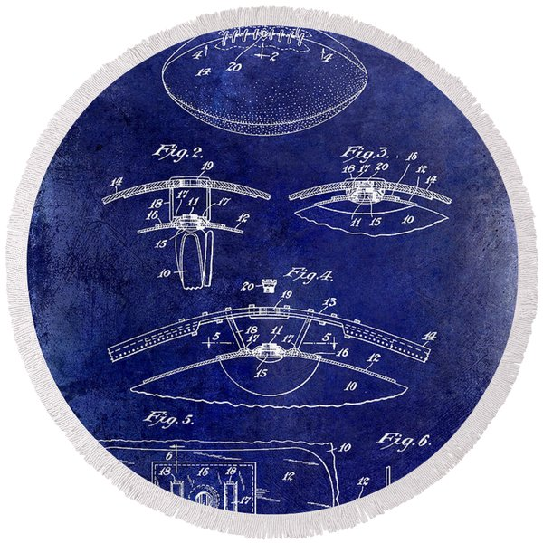 1927 Football Patent Drawing  Blue Round Beach Towel