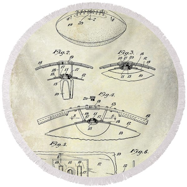 1927 Football Patent Drawing  Round Beach Towel