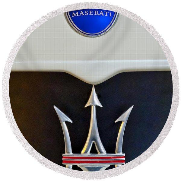2005 Maserati Mc12 Hood Emblem Round Beach Towel