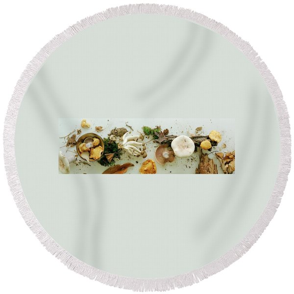 An Assortment Of Mushrooms Round Beach Towel