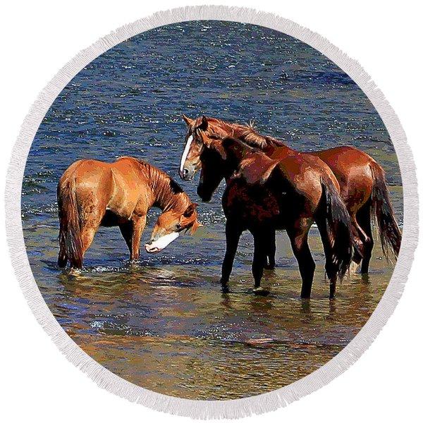 Arizona Wild Horses On The Salt River Round Beach Towel