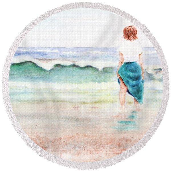 At The Beach Round Beach Towel
