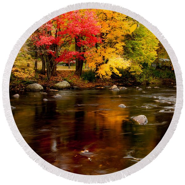 Autumn Colors Reflected Round Beach Towel