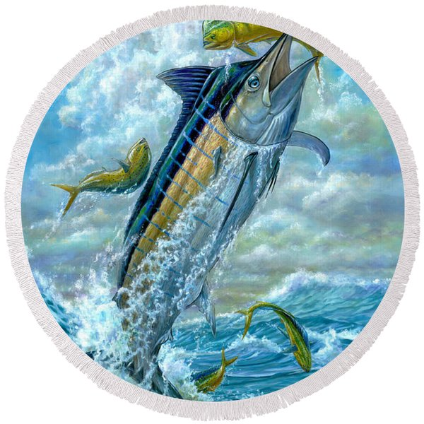 Big Jump Blue Marlin With Mahi Mahi Round Beach Towel