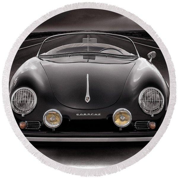 Black Porsche Speedster Round Beach Towel
