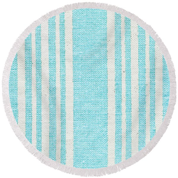 Blue Fabric Round Beach Towel