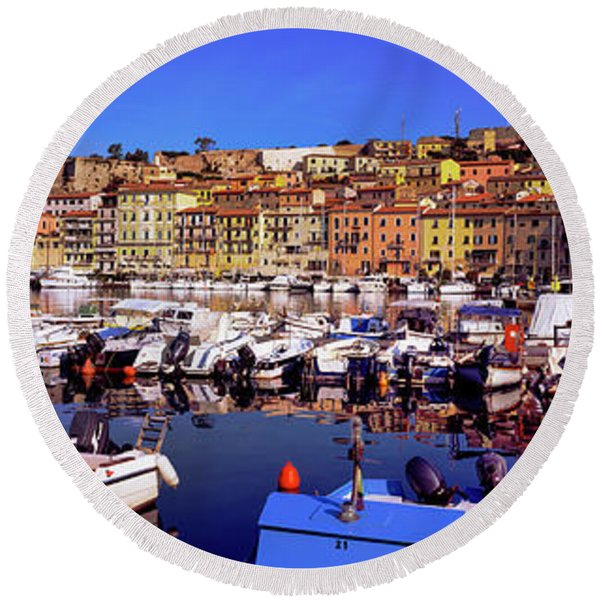 Boats At A Harbor, Portoferraio, Island Round Beach Towel