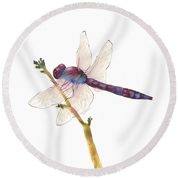 Burgundy Dragonfly  Round Beach Towel