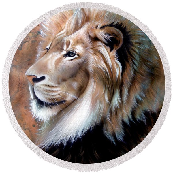 Copper King - Lion Round Beach Towel