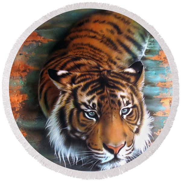 Copper Tiger II Round Beach Towel