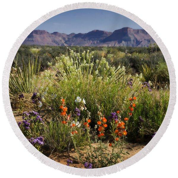Desert Wildflowers Round Beach Towel