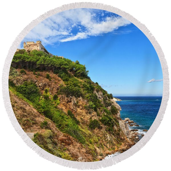 Forte Stella In Portoferraio Round Beach Towel