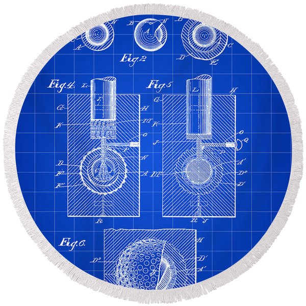 Golf Ball Patent 1902 - Blue Round Beach Towel