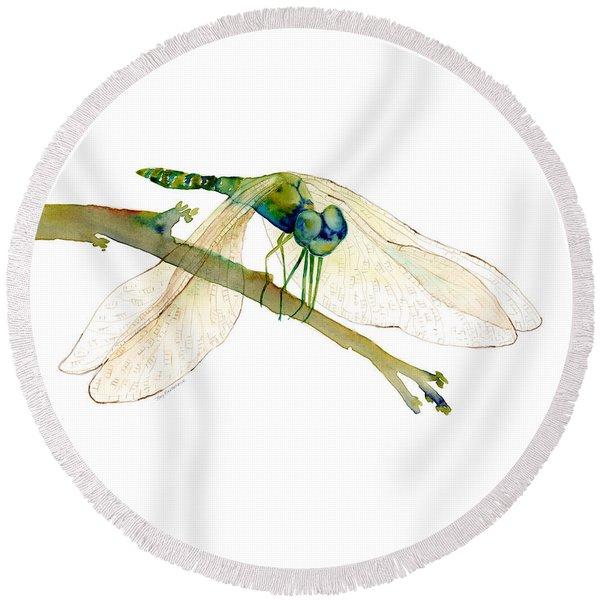 Green Dragonfly Round Beach Towel
