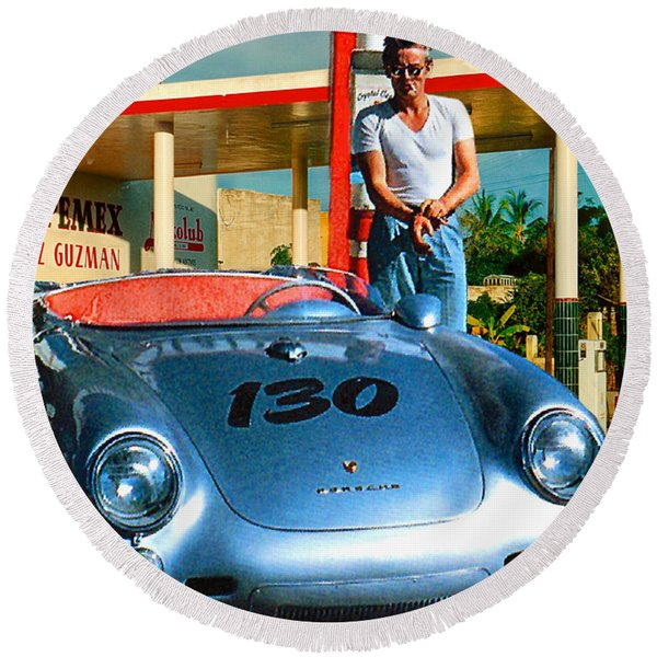 James Dean Filling His Spyder With Gas Round Beach Towel