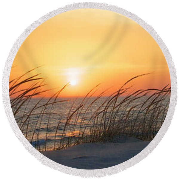 Round Beach Towel featuring the photograph Lake Michigan Sunset Panorama by Mary Lee Dereske