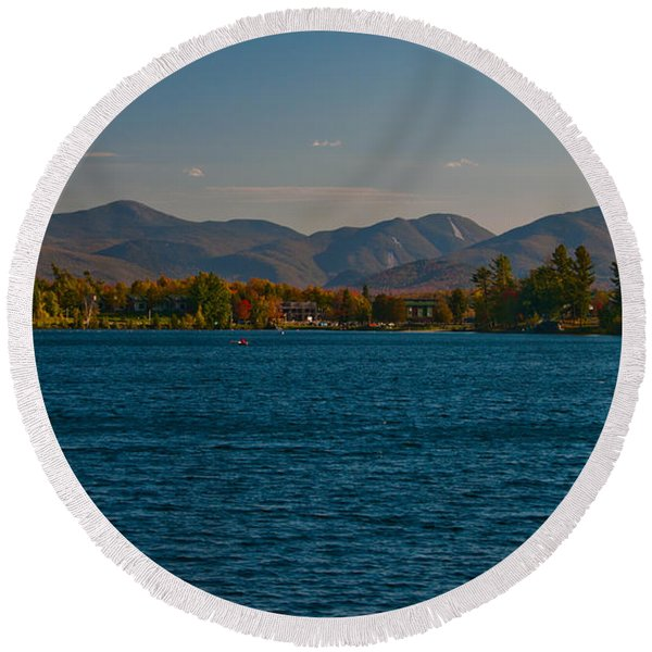Lake Placid And The Adirondack Mountain Range Round Beach Towel