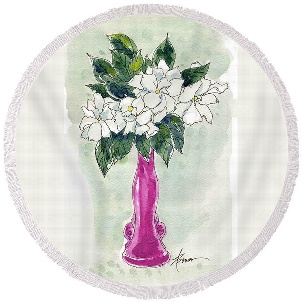 Mama's Vase Round Beach Towel