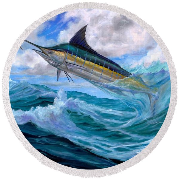 Marlin Low-flying Round Beach Towel
