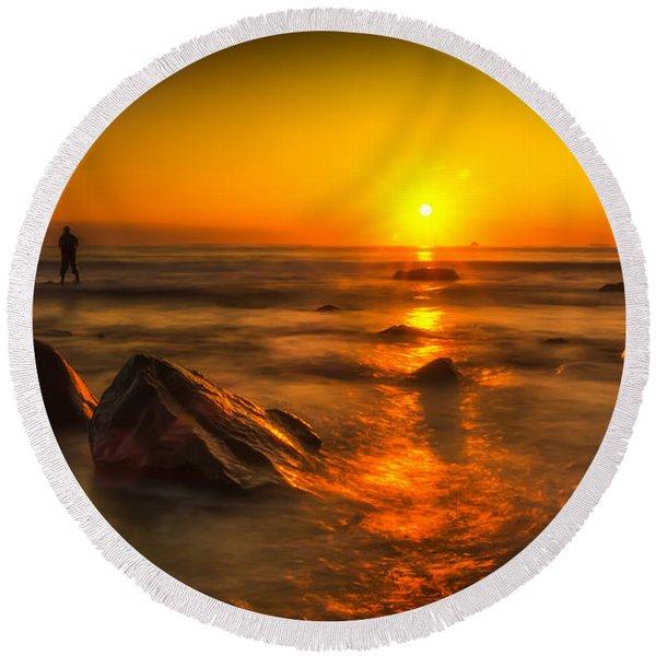Montauk New York Summer Sunrise Round Beach Towel