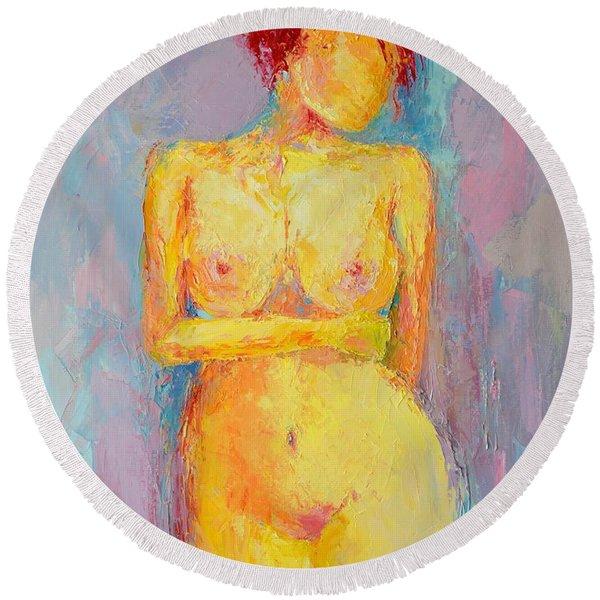 Nude Woman Figure No. 3 Round Beach Towel