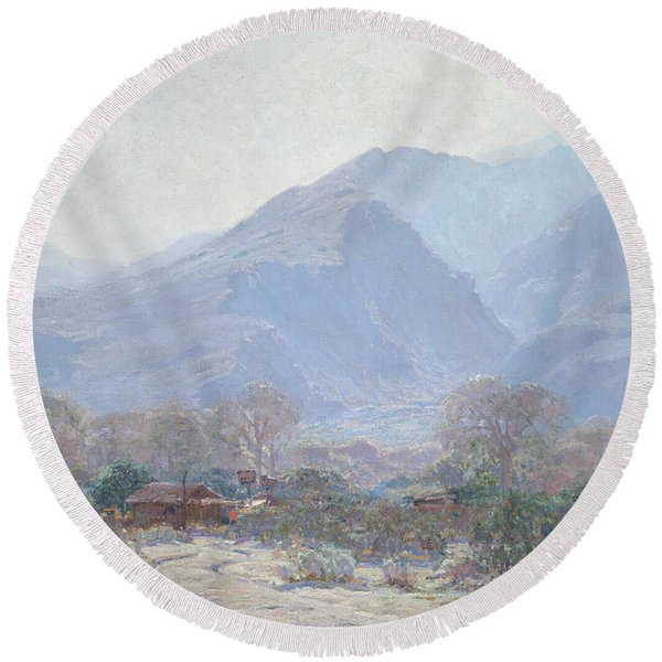 Palm Springs Landscape With Shack Round Beach Towel