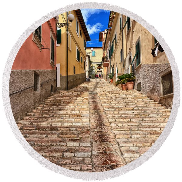 Portoferraio - Isle Of Elba Round Beach Towel