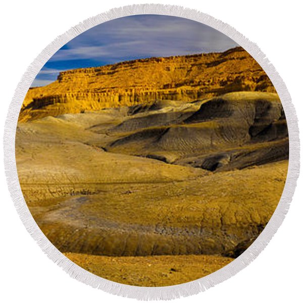 Rock Formations In A Desert, Grand Round Beach Towel