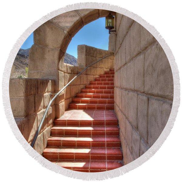 Spanish Steps Round Beach Towel