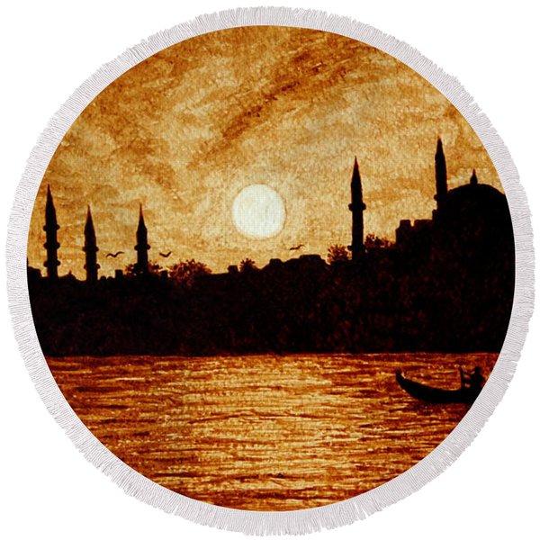 Sunset Over Istanbul Original Coffee Painting Round Beach Towel
