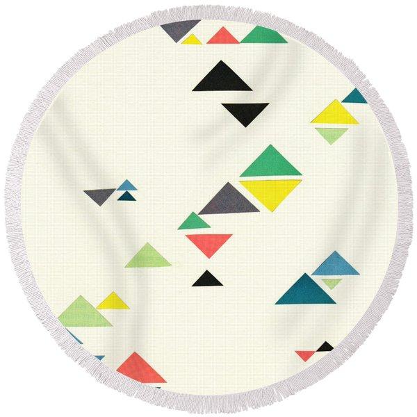 Triangles Round Beach Towel
