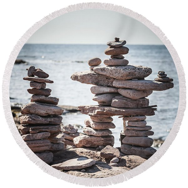Two Stacked Stone Cairns Round Beach Towel