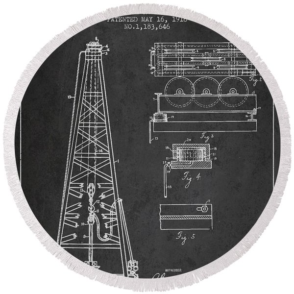 Vintage Oil Drilling Rig Patent From 1916 Round Beach Towel