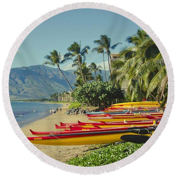 Kenolio Beach Sugar Beach Kihei Maui Hawaii  Round Beach Towel