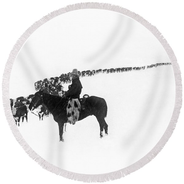 Wintertime Cattle Drive Round Beach Towel